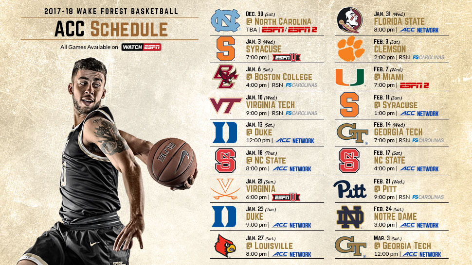 picture about Unc Basketball Schedule Printable named 2017-18 Mens Basketball ACC Program Introduced - Wake